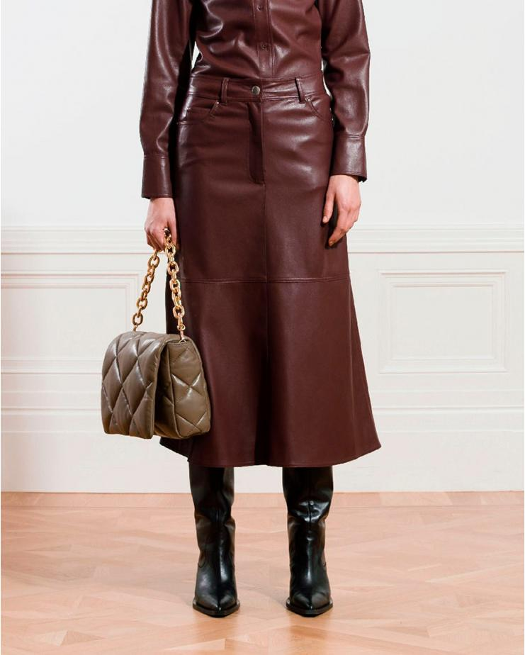 Riley Faux Leather Skirt in...