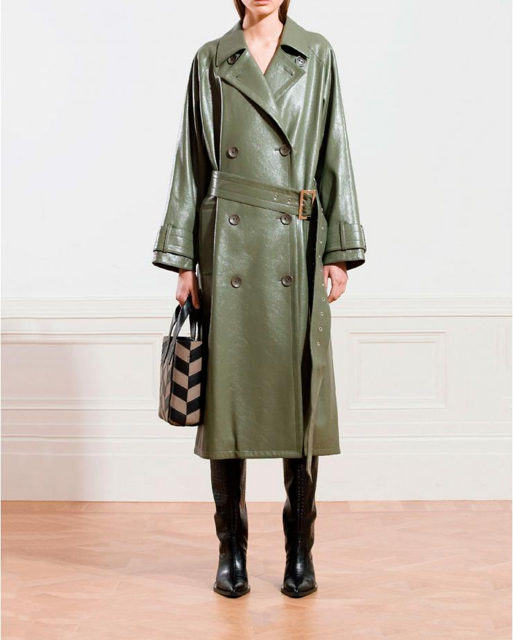 Shelly Faux Leather Trench...
