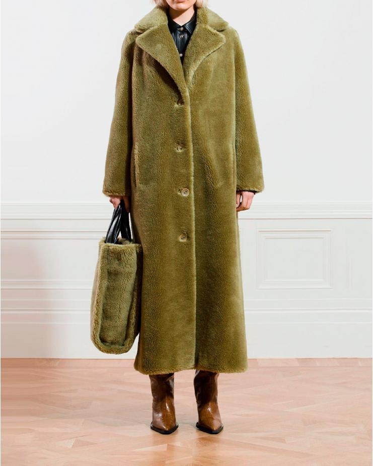 Sol Wool Fur Coat in Light...