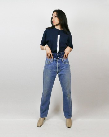 Jeans Double Waist in Dark...