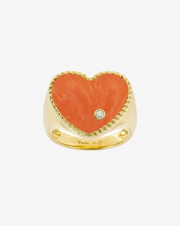Chevaliere Coeur Ring in Coral