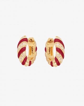 Torsade Earrings in Red and...