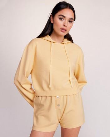 Cashmere Crop Hoodie in Lemon