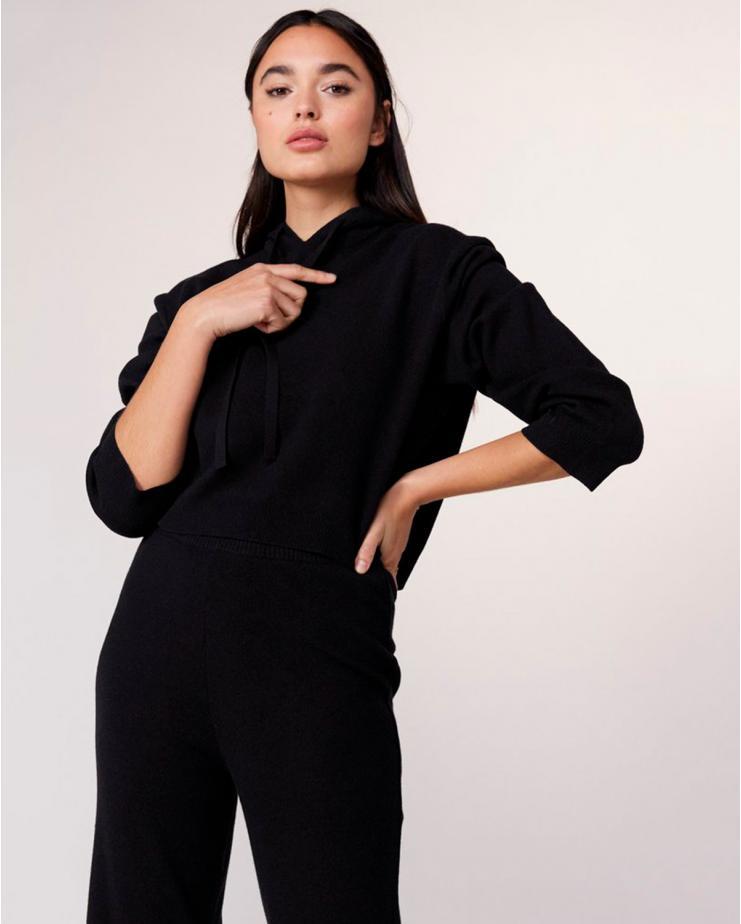Cashmere Crop Hoodie in Black