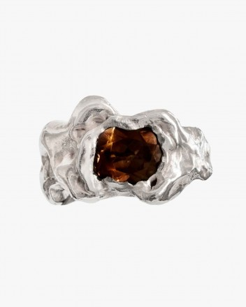 Ola Silver Ring in Brown