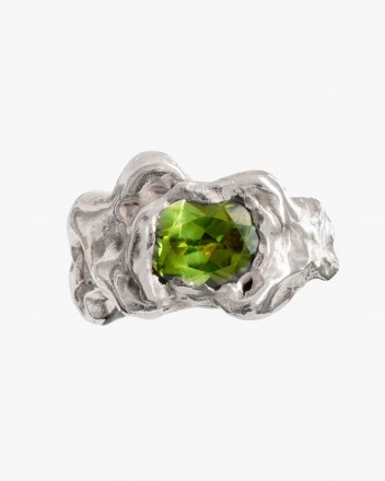 Ola Silver Ring in Green