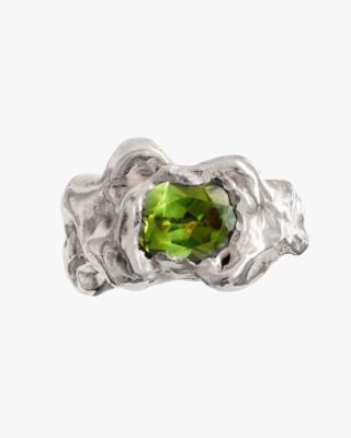 Ola Silver Ring in Green