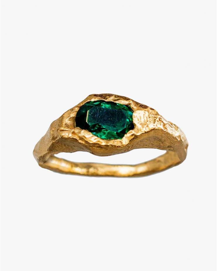 Faro Ring in Green Emerald