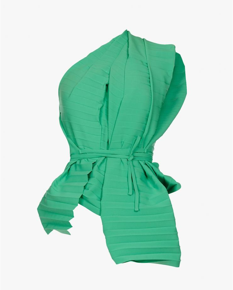 Pleated Wrap Top in Green