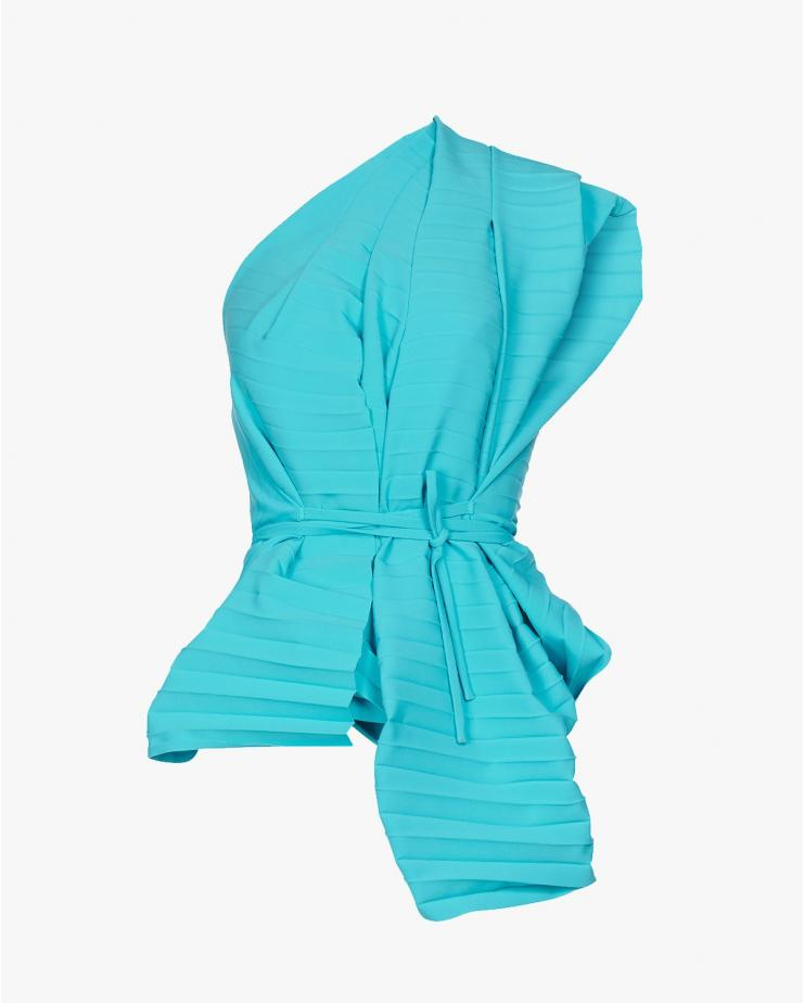 Pleated Wrap Top in Blue