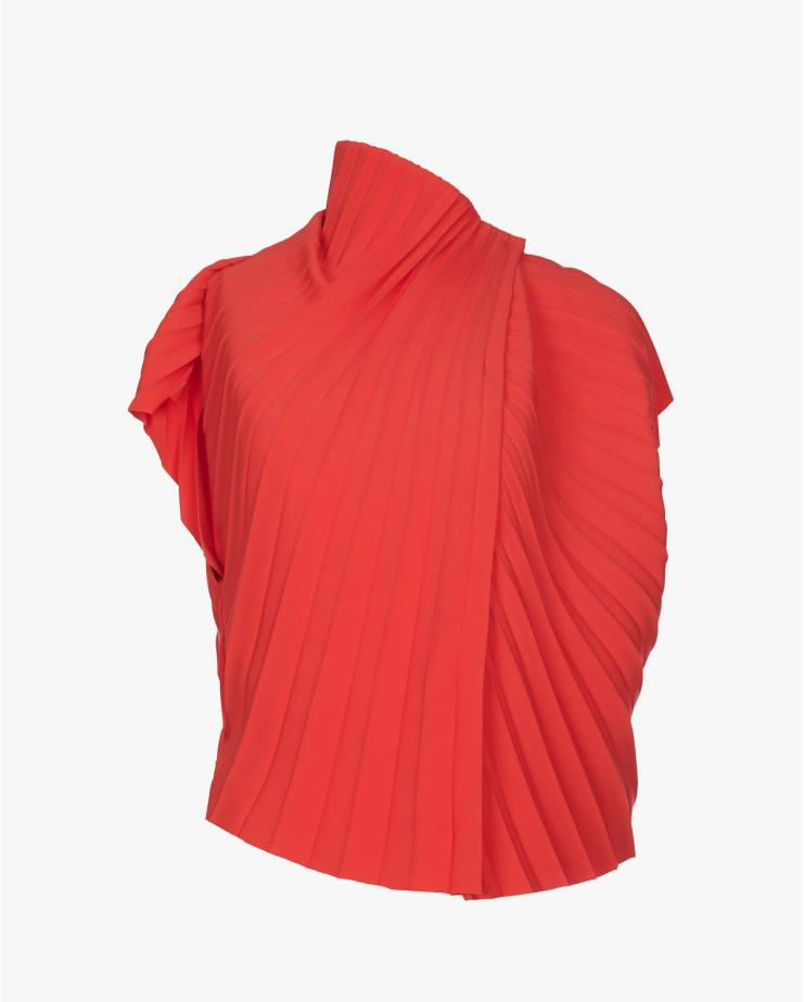 Pleated Asymmetric Top in Red