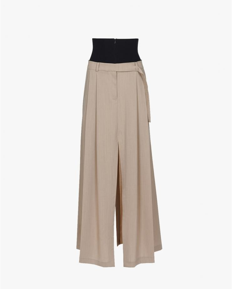 Double Pleat Maxi Pant Skirt