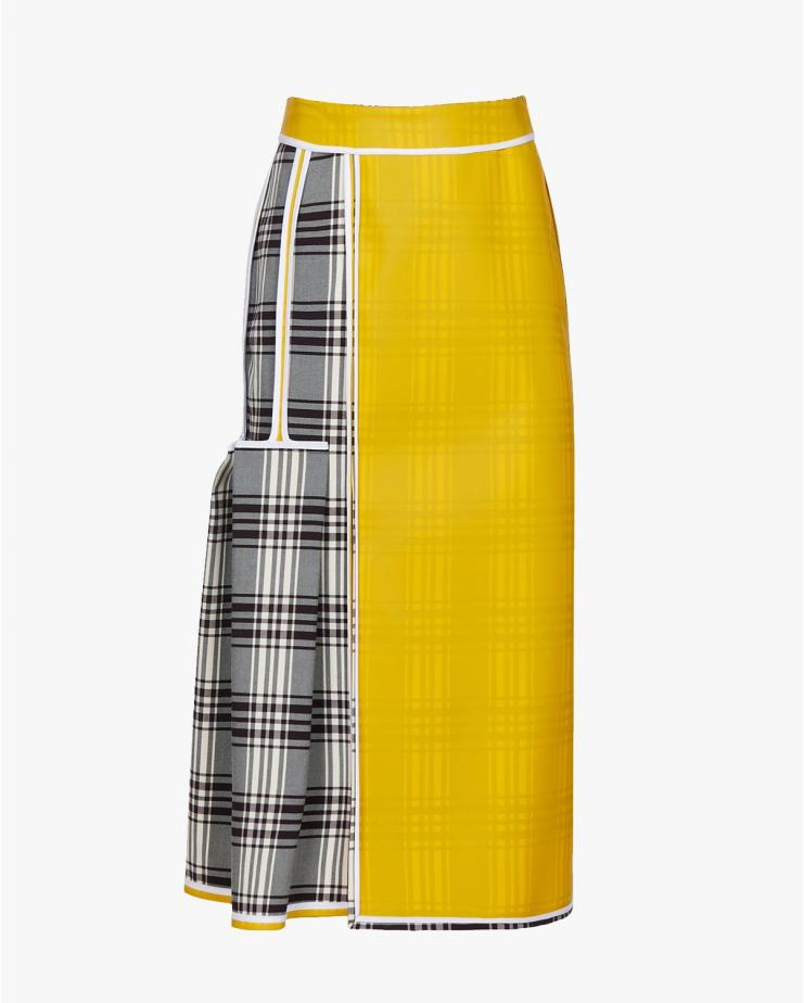 Midi Skirt in Check & Yellow