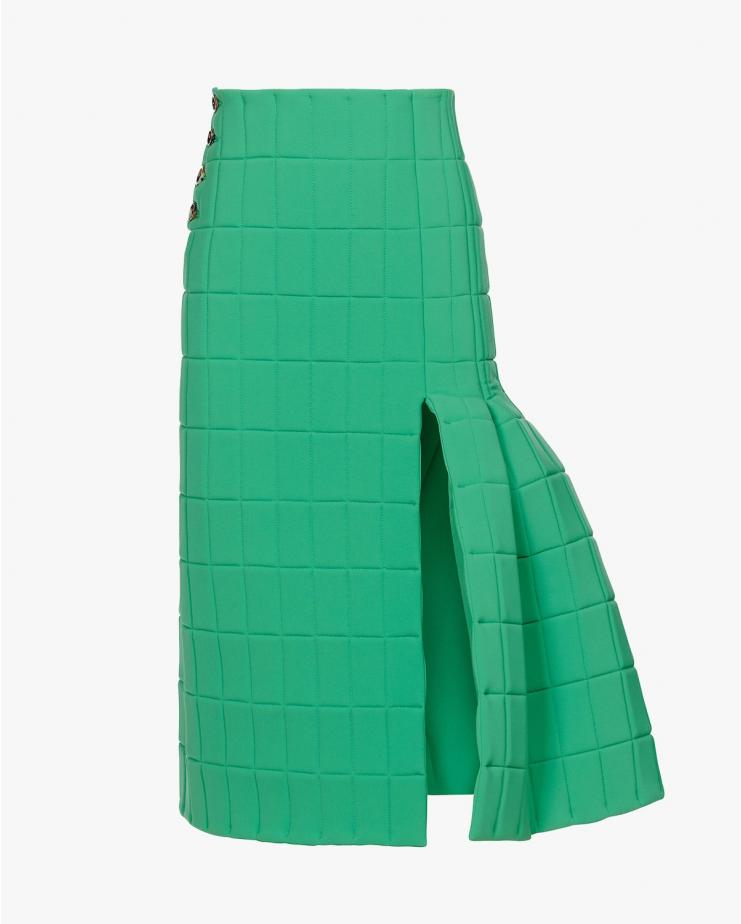 Quilted Midi Skirt in Green