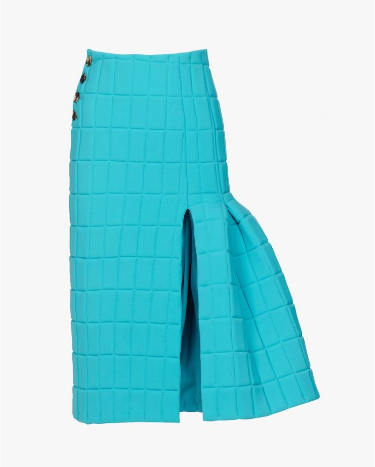 Quilted Midi Skirt in Blue