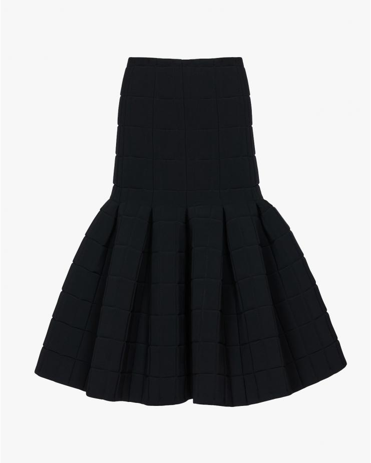 Quilted Pleated Midi Skirt...