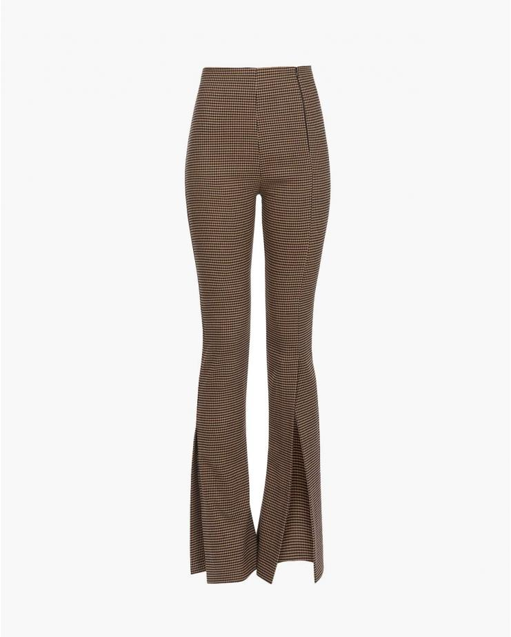 Fitted Trousers in Brown Check