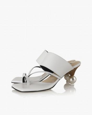 Ellia Toe Mules in White