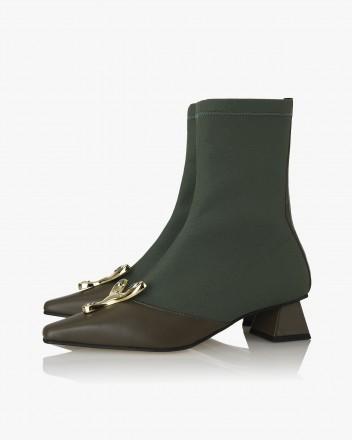 Yvette Socks Boots in Olive