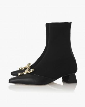 Yvette Socks Boots in Black