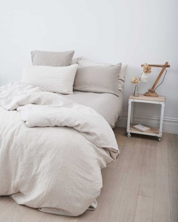 Duvet Cover in Natural Stripes
