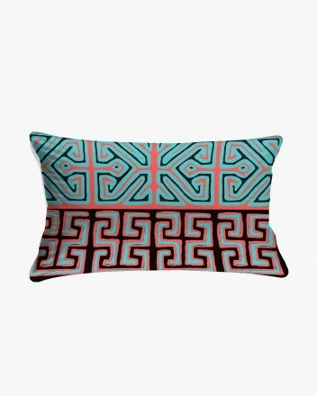 Kuna Cushion in Blue and Red