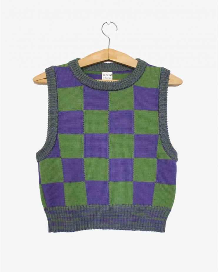 Checkmate Vest  Violet and Green