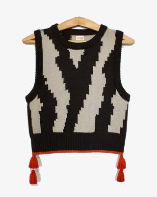 Zebra Vest Brown and Cream