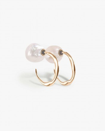 Pearled Hoop Earring in Gold