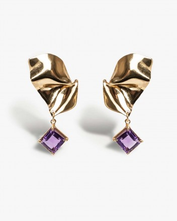 Folded Drop Earring in Gold