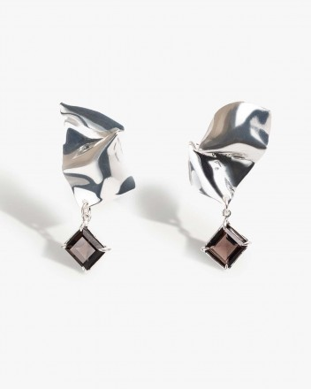 Folded Drop Earring in Silver