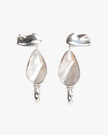 Waved Drop Earring in Silver