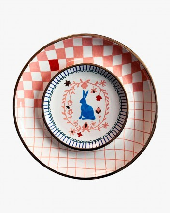 Ceramic Plate With Rabbit...