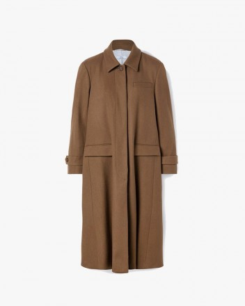 Concealed Buttons Flared Coat