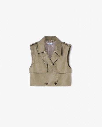 Cropped Trench Vest in Camel