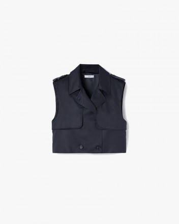Cropped Trench Vest in Navy