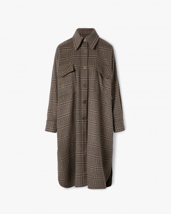 Checked Oversized Shirt Coat