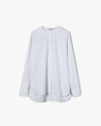 Collarless Shirt in White