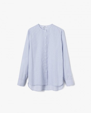 Collarless Shirt Blue