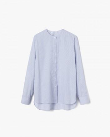 Collarless Shirt Blue