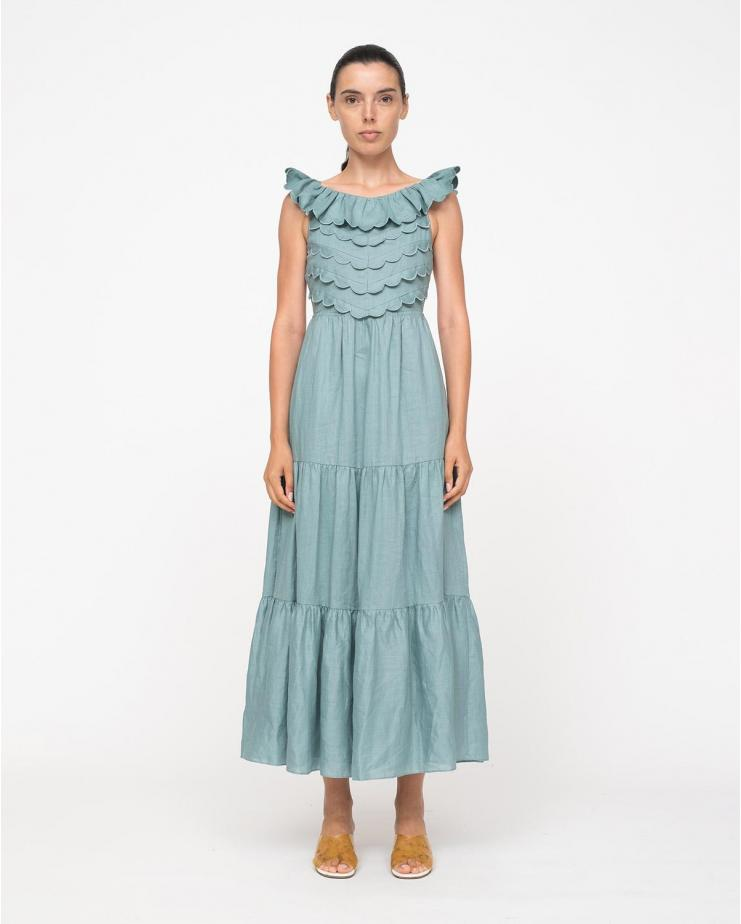 Shannon Scallop Sleeveless Dress in Sky
