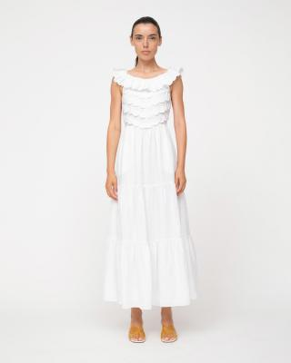 Shannon Scallop Sleeveless Dress in White