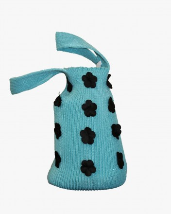 Knit Bag in Blue with Black...