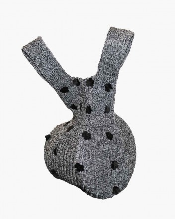 Knit Bag in Grey with Black...