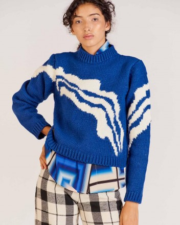 Abacus Wave Sweater in Blue
