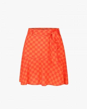 Check Skirt in Orange
