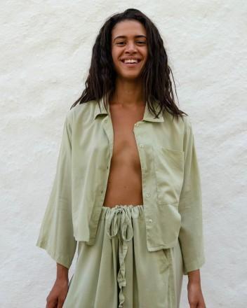 Cropped Shirt Jil in Sage...