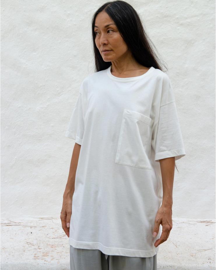 Unisex T-Shirt S pocket in Off White