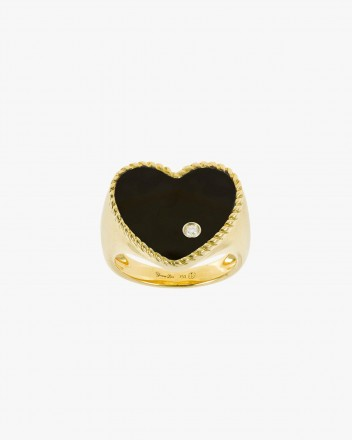 Chevaliere Coeur Onyx Ring