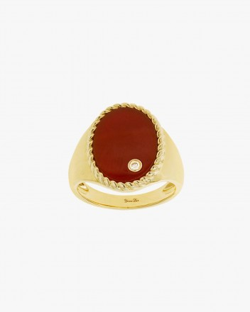 Chevaliere Ovale Agate Rouge